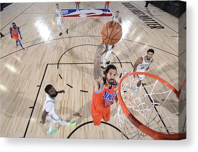 Nba Pro Basketball Canvas Print featuring the photograph Steven Adams by Garrett Ellwood