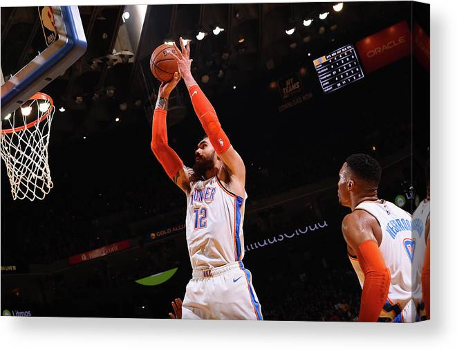 Nba Pro Basketball Canvas Print featuring the photograph Steven Adams by Noah Graham