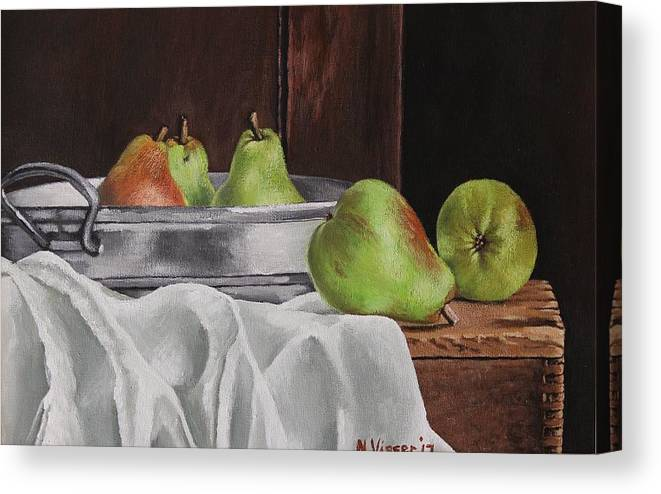 Still Life Canvas Print featuring the painting Still life with pears by Nellie Visser