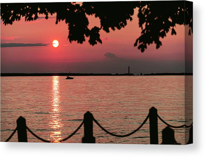 Kelly's Island Canvas Print featuring the photograph Sunset Over Put in Bay by James McClintock