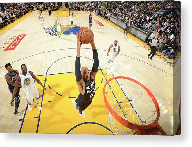Nba Pro Basketball Canvas Print featuring the photograph Taj Gibson by Noah Graham
