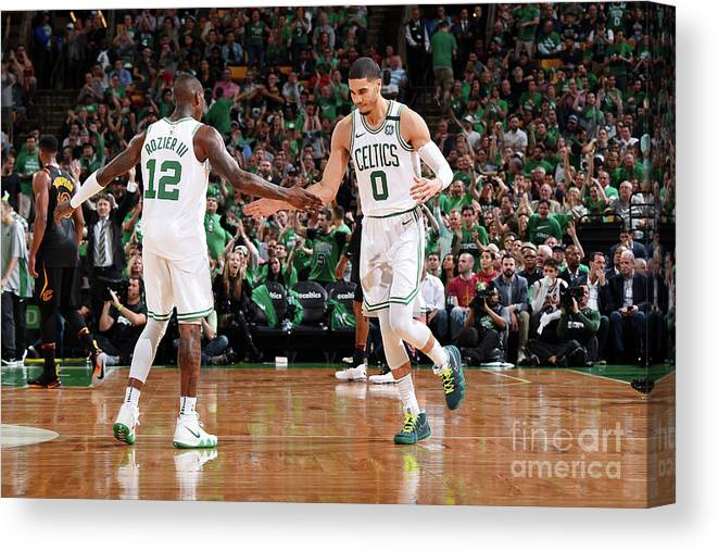 Playoffs Canvas Print featuring the photograph Terry Rozier and Jayson Tatum by Brian Babineau