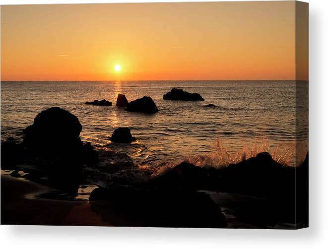Shore Canvas Print featuring the photograph The Beach Of Trengandin In Noja, Cantabria, Spain by Vicen Photography