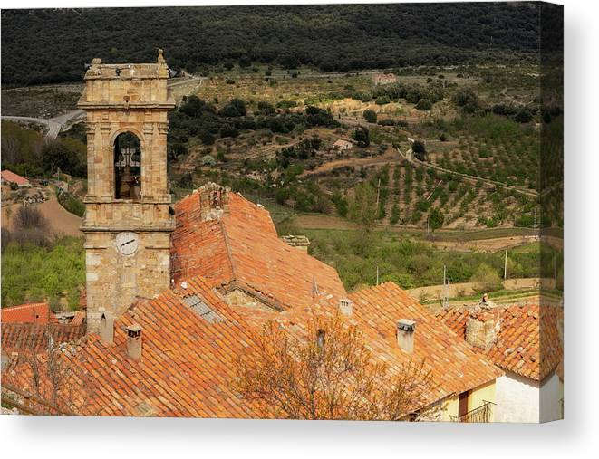 Culla Canvas Print featuring the photograph The Bell Tower Of The Town Of Culla In Castellon by Vicen Photography