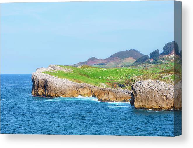 Color Canvas Print featuring the photograph The Cantabrian Coast By Llanes, Asturias, Spain by Vicen Photography