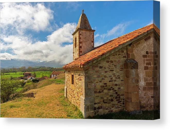 Paracuelles Canvas Print featuring the photograph The Church Of San Andres In Paracuelles, Cantabria by Vicen Photography