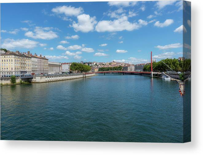 Lyon Canvas Print featuring the photograph The Saona River In Lyon, France by Vicen Photography