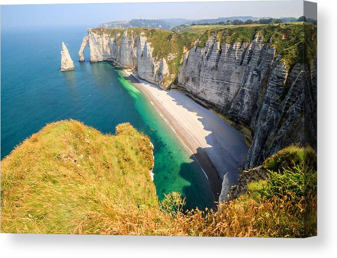 Shadow Canvas Print featuring the photograph The white cliffs of Etretat, the alabaster coast by Frans Sellies