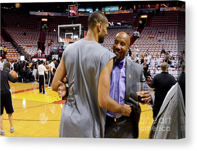 Playoffs Canvas Print featuring the photograph Tim Duncan and Bruce Bowen by Noah Graham