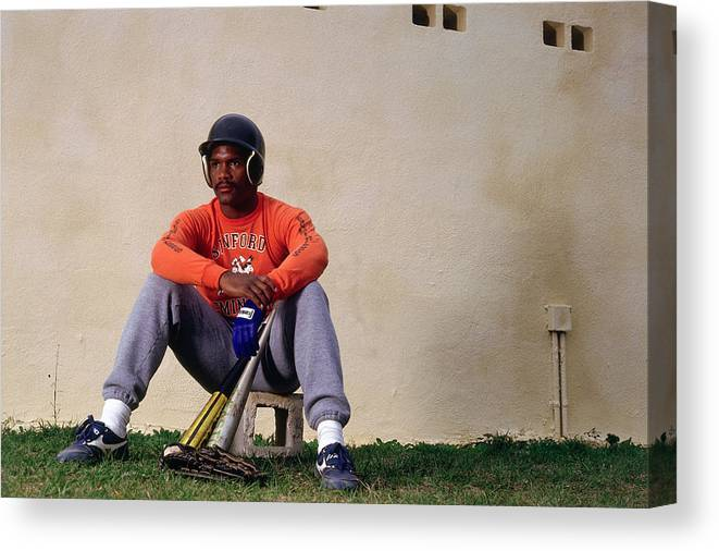 1980-1989 Canvas Print featuring the photograph Tim Raines by Ronald C. Modra/sports Imagery