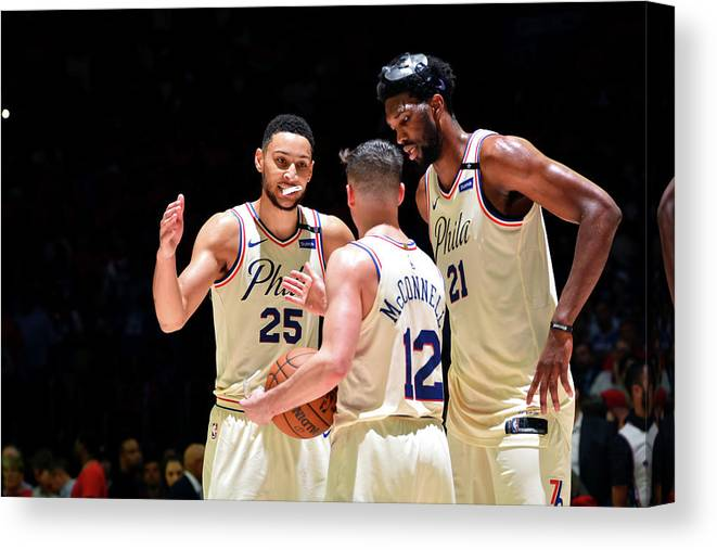 Playoffs Canvas Print featuring the photograph T.j. Mcconnell, Ben Simmons, and Joel Embiid by Jesse D. Garrabrant