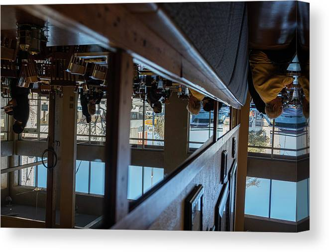 Reflections Eating Diner Food Mirror People Upside Down Canvas Print featuring the photograph Tnarautser by Peyton Vaughn