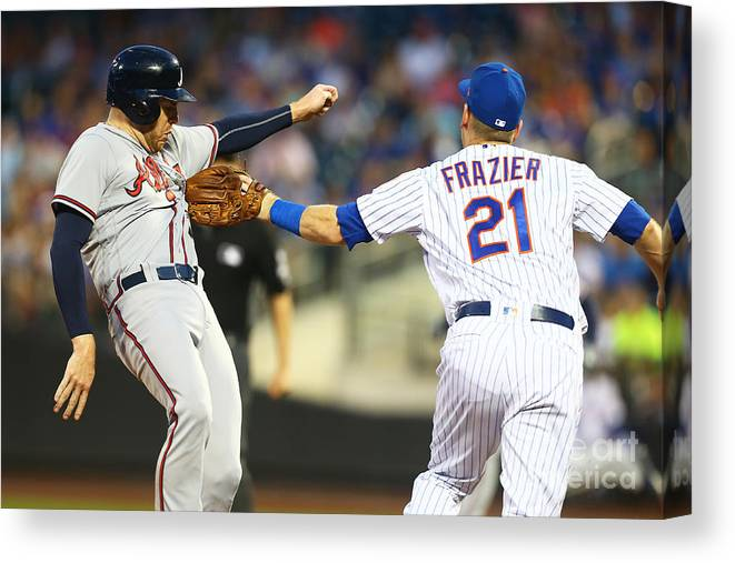 Three Quarter Length Canvas Print featuring the photograph Todd Frazier and Freddie Freeman by Mike Stobe