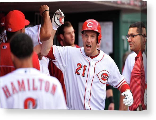 Great American Ball Park Canvas Print featuring the photograph Todd Frazier by Jamie Sabau