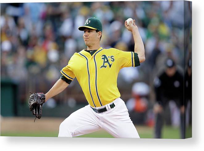 American League Baseball Canvas Print featuring the photograph Tommy Milone by Ezra Shaw