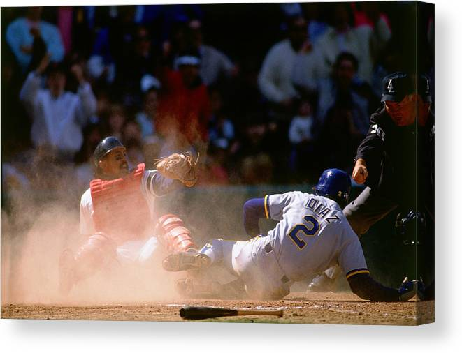 American League Baseball Canvas Print featuring the photograph Tony Pena by Ronald C. Modra/sports Imagery