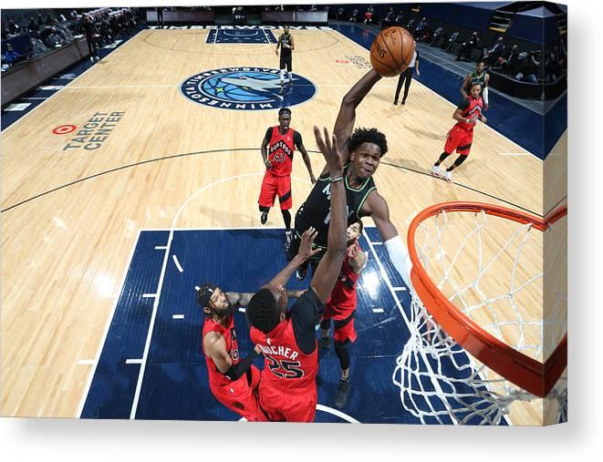 Nba Pro Basketball Canvas Print featuring the photograph Toronto Raptors v Minnesota Timberwolves by David Sherman