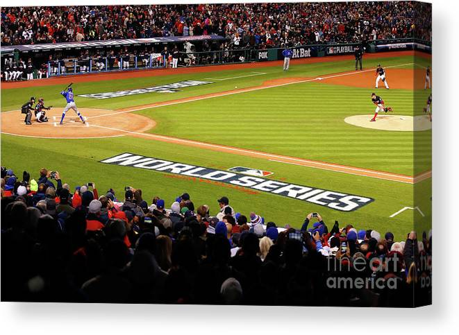 Game Two Canvas Print featuring the photograph Trevor Bauer and Dexter Fowler by Gregory Shamus
