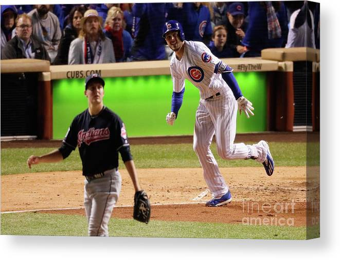 People Canvas Print featuring the photograph Trevor Bauer and Kris Bryant by Jamie Squire