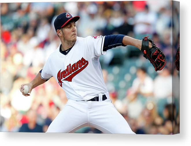 Three Quarter Length Canvas Print featuring the photograph Trevor Bauer by David Maxwell