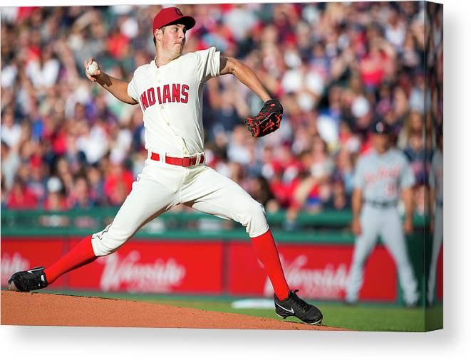 American League Baseball Canvas Print featuring the photograph Trevor Bauer by Jason Miller