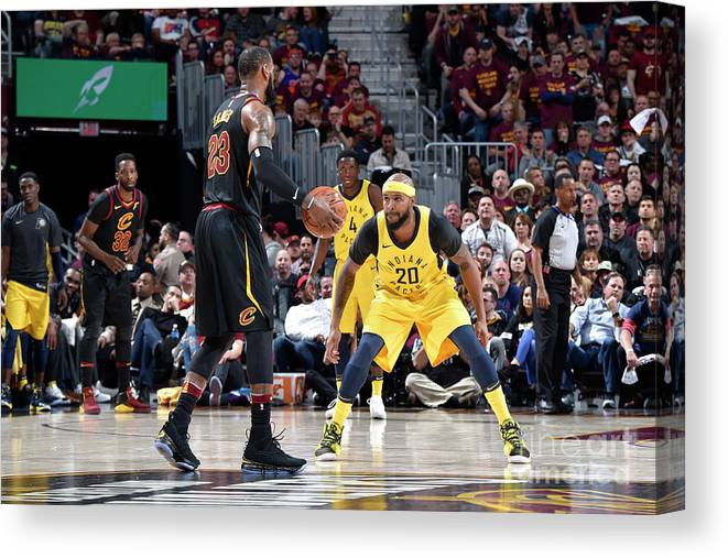 Playoffs Canvas Print featuring the photograph Trevor Booker and Lebron James by David Liam Kyle