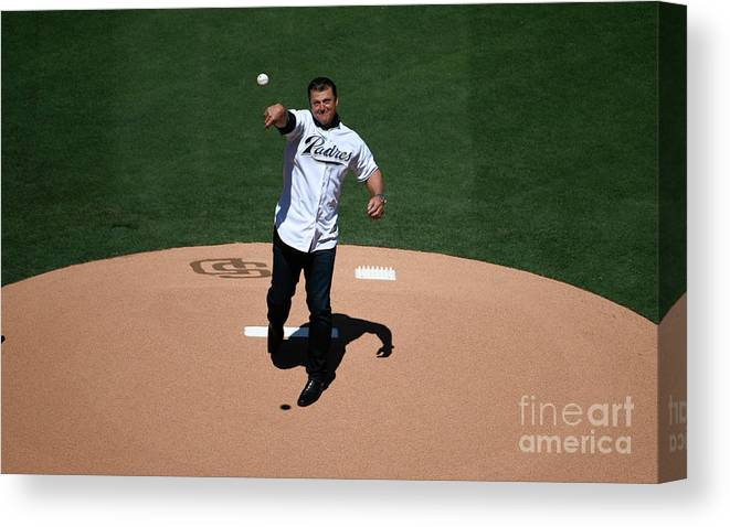 People Canvas Print featuring the photograph Trevor Hoffman by Denis Poroy