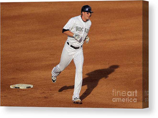 People Canvas Print featuring the photograph Troy Tulowitzki and Chad Billingsley by Doug Pensinger