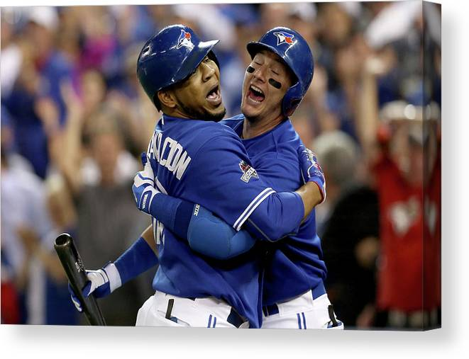 People Canvas Print featuring the photograph Troy Tulowitzki and Edwin Encarnacion by Vaughn Ridley