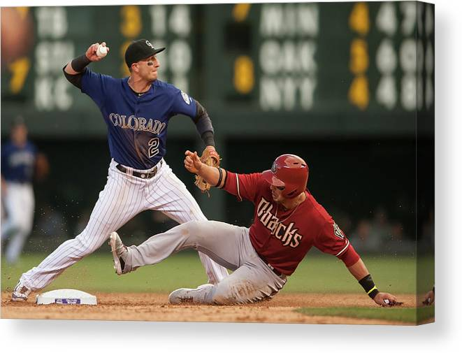 Double Play Canvas Print featuring the photograph Troy Tulowitzki and Martin Prado by Dustin Bradford