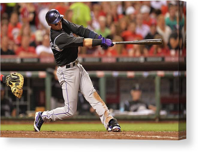Great American Ball Park Canvas Print featuring the photograph Troy Tulowitzki by Jamie Sabau
