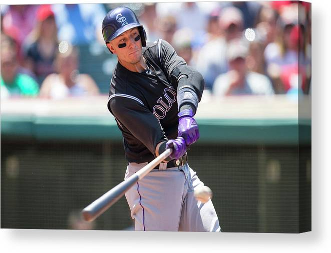 American League Baseball Canvas Print featuring the photograph Troy Tulowitzki by Jason Miller