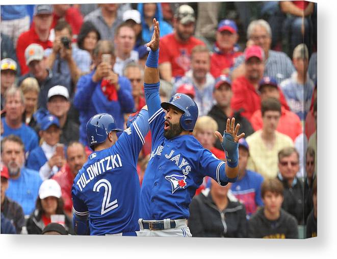 Game Two Canvas Print featuring the photograph Troy Tulowitzki by Scott Halleran
