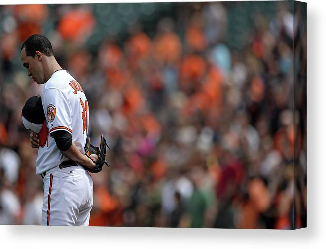 American League Baseball Canvas Print featuring the photograph Ubaldo Jimenez by Patrick Smith