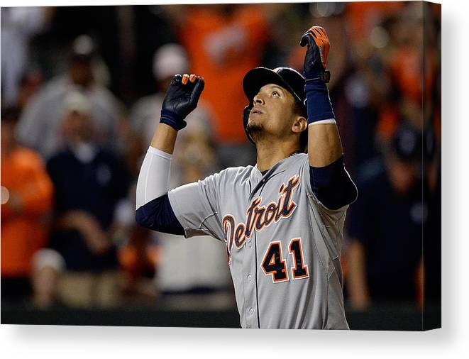 Ninth Inning Canvas Print featuring the photograph Victor Martinez by Patrick Mcdermott