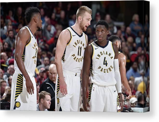 Nba Pro Basketball Canvas Print featuring the photograph Victor Oladipo and Domantas Sabonis by David Liam Kyle