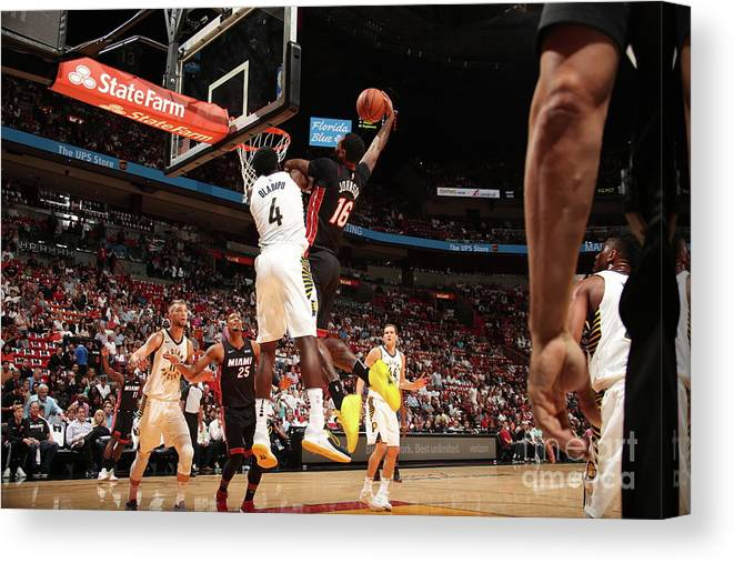 Nba Pro Basketball Canvas Print featuring the photograph Victor Oladipo and James Johnson by Issac Baldizon