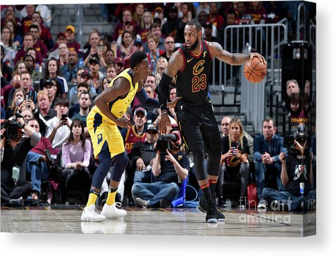 Playoffs Canvas Print featuring the photograph Victor Oladipo and Lebron James by David Liam Kyle