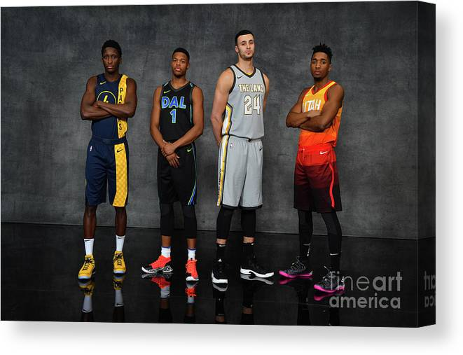 Nba Pro Basketball Canvas Print featuring the photograph Victor Oladipo, Larry Nance, and Donovan Mitchell by Jesse D. Garrabrant