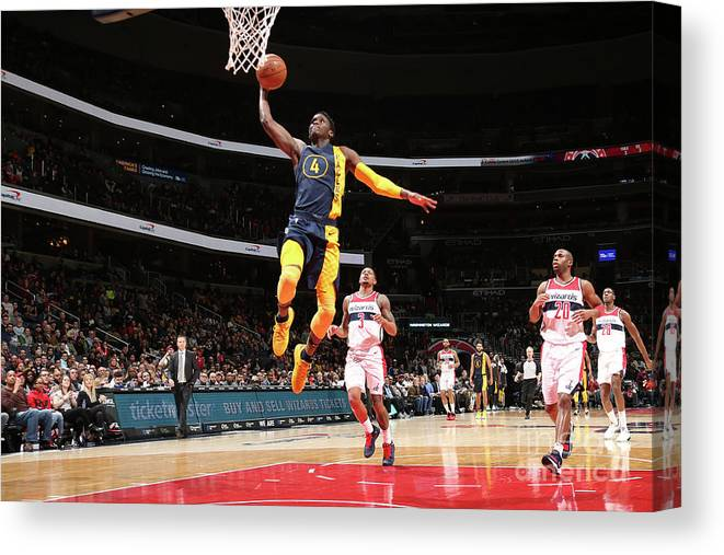 Nba Pro Basketball Canvas Print featuring the photograph Victor Oladipo by Ned Dishman