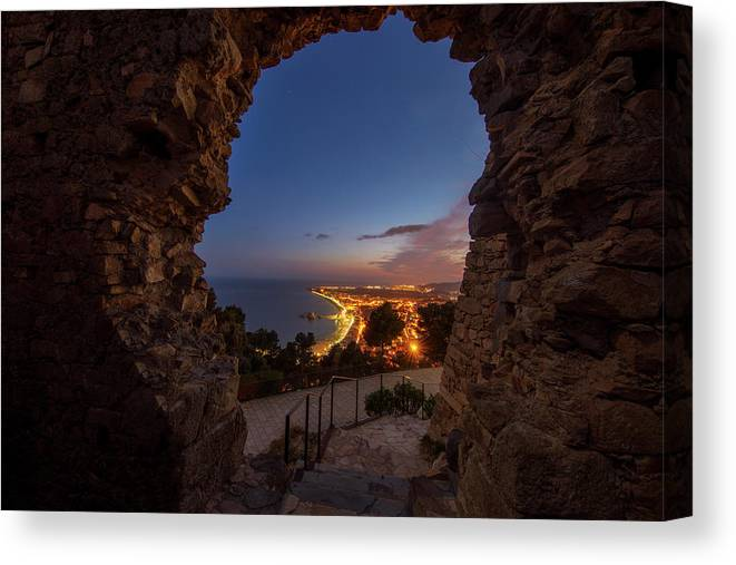 Blanes Canvas Print featuring the photograph View Of Blanes At Night From The Castle by Vicen Photography