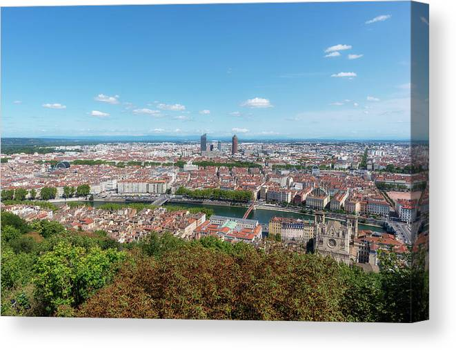 Lyon Canvas Print featuring the photograph Viewpoint To The City Of Lyon by Vicen Photography