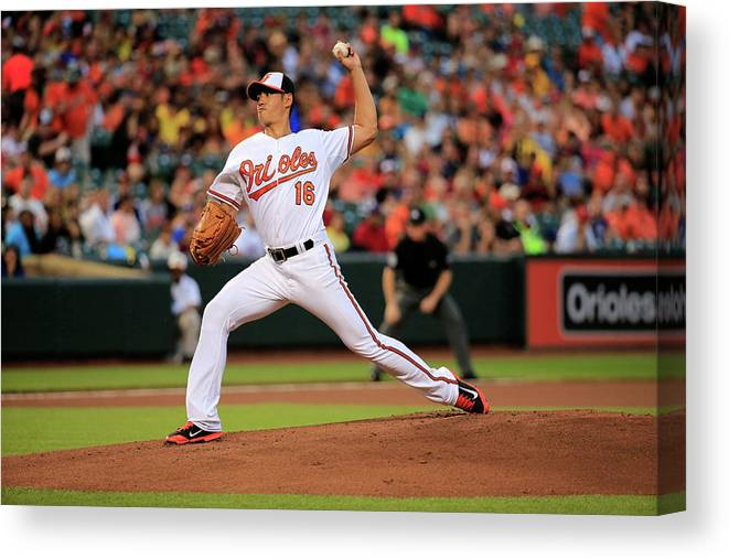 American League Baseball Canvas Print featuring the photograph Wei-yin Chen by Rob Carr