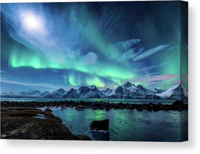 Moon Canvas Print featuring the photograph When the moon shines by Tor-Ivar Naess