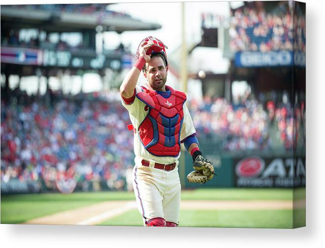 Citizens Bank Park Canvas Print featuring the photograph Wil Nieves by Rob Tringali