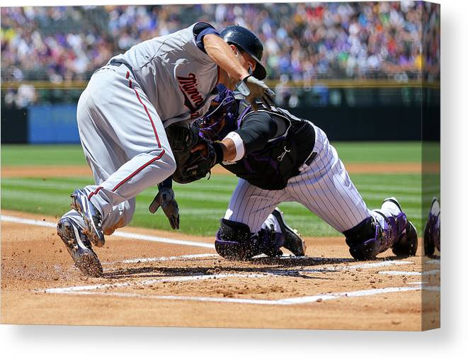 Baseball Catcher Canvas Print featuring the photograph Wilin Rosario and Brian Dozier by Justin Edmonds