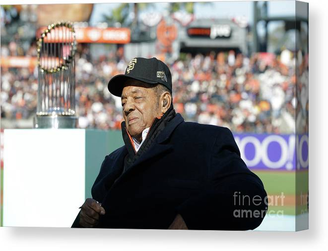 San Francisco Canvas Print featuring the photograph Willie Mays by Pool