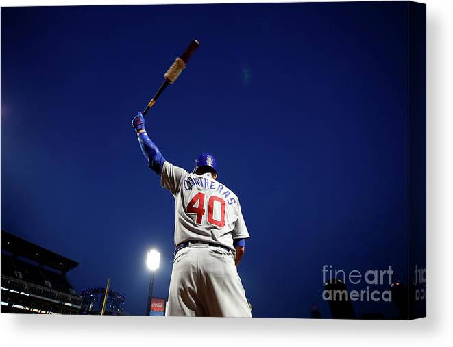 Three Quarter Length Canvas Print featuring the photograph Willson Contreras by Justin K. Aller
