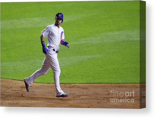 Second Inning Canvas Print featuring the photograph Willson Contreras by Stacy Revere