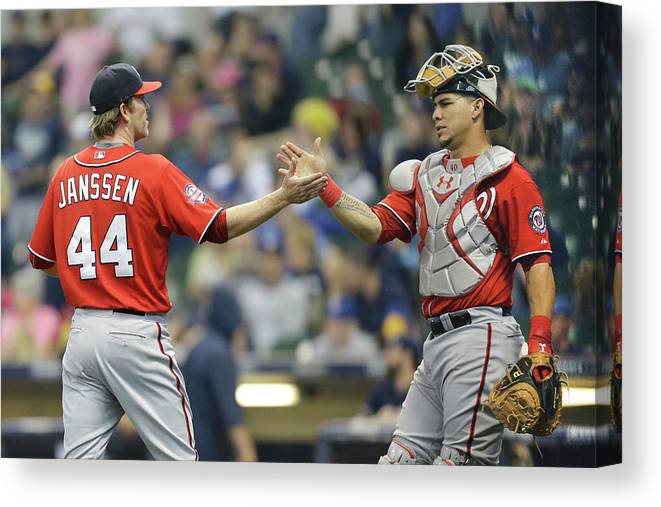 Three Quarter Length Canvas Print featuring the photograph Wilson Ramos and Casey Janssen by Mike Mcginnis